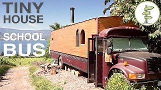 School Bus Converted into Full Time Tiny House - Amazing custom RV! thumbnail