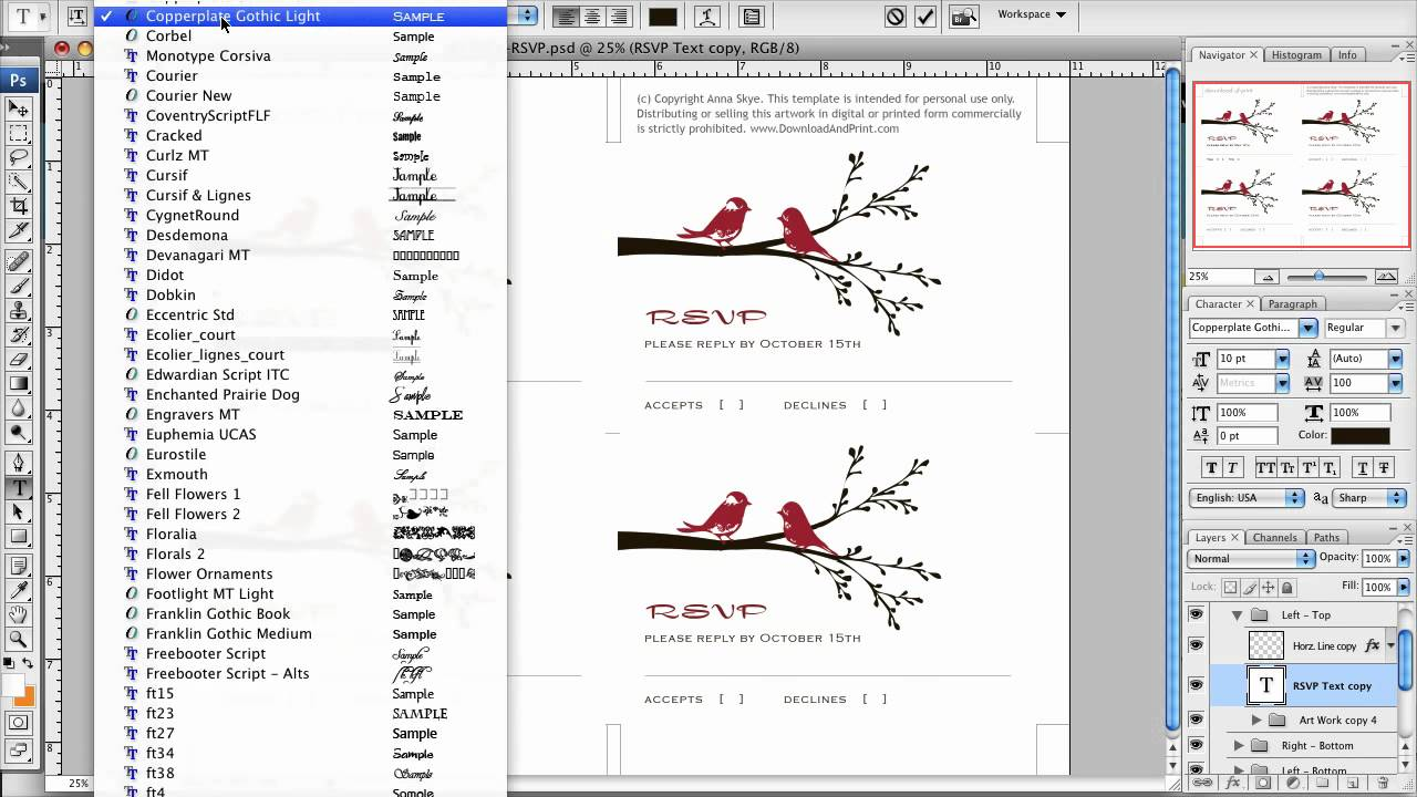 How To Make Your Own RSVP Cards In Photoshop