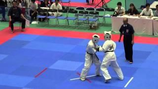 15歳男子選抜(13名)1回戦 655大関仁VS656沢凪航 http://kyokushin-shiga...