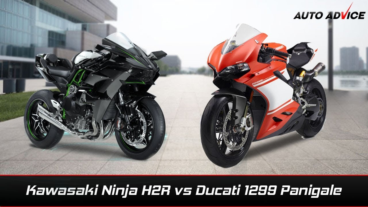 Kawasaki Ninja H2r Vs Ducati 1299 Panigale Comparison Youtube