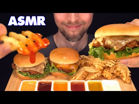 ASMR CHICK FIL A WAFFLE FRIES CHEESY CHICKEN SANDWICHES MUKBANG (EATING SOUNDS)  [NO TALKING] 먹방