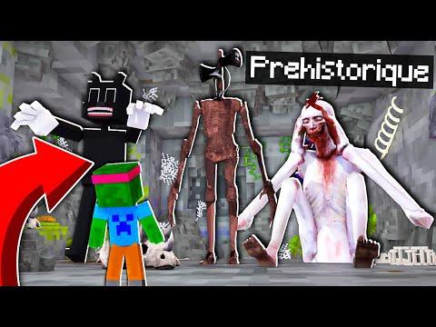 J'ai TROUVÉ la BASE SECRÈTE des MONSTRES PRÉHISTORIQUES Minecraft ! Siren Head Cartoon Cat SCP 096 !