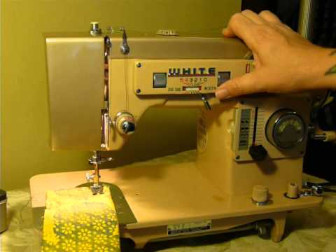 NIFTYTHRIFTYGIRL: White Selectronic model 970 heavy duty 1.6amp sewing machine!