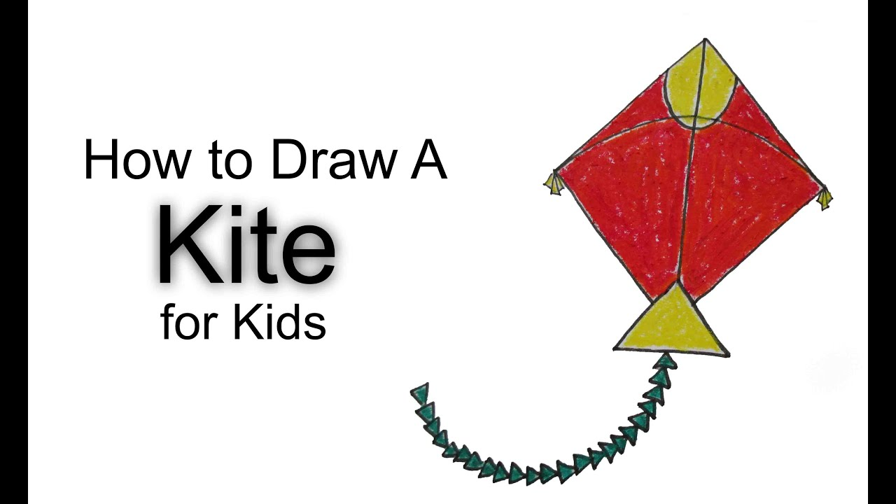 How to Draw a Kite for Kids - YouTube