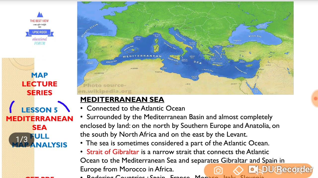 MEDITERRANEAN SEA (भूमध्य सागर) MAP FULL ANALYSIS LESSON #05 (COMPLETE  GEOGRAPHY THROUGH MAPS )