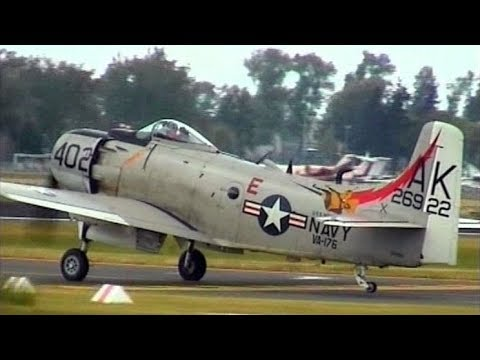 Great Sounding Douglas A-1D Skyraider (AD-4NA) Kennet Aviation - Taxiing & Flight Display