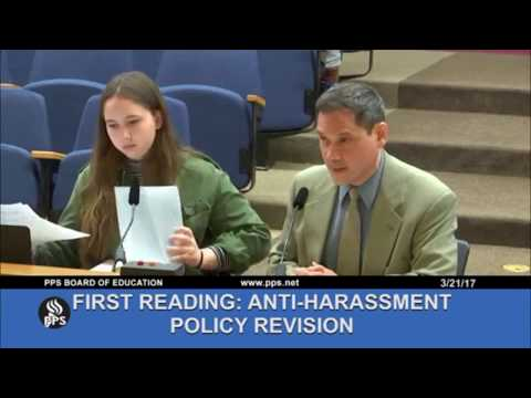 Student activist co-presents new sexual violence and harassment policies to Portland School Board