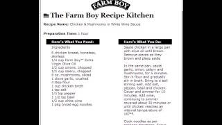 Farm Boy Commercial: Chicken & Mushrooms In White Wine Sauce