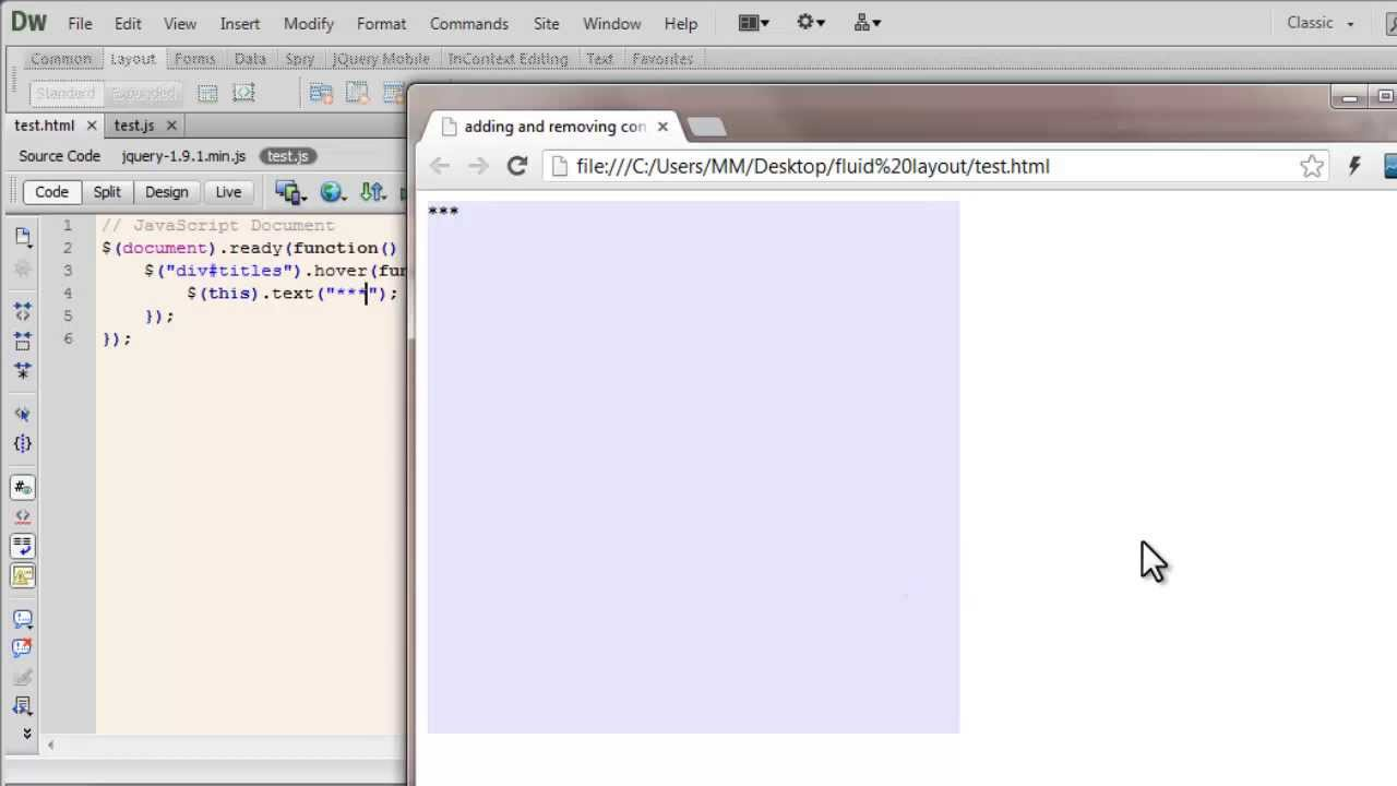 How to test javascript in dreamweaver