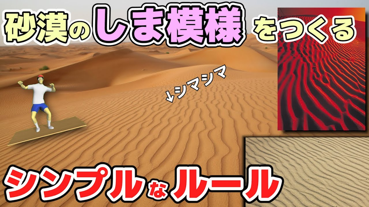 【物理エンジン】砂漠の縞模様はどうやってできる?シンプルな数理モデルで再現