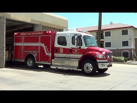 Phoenix FD Ladder Tender 9 responding [AZ  | 2015]