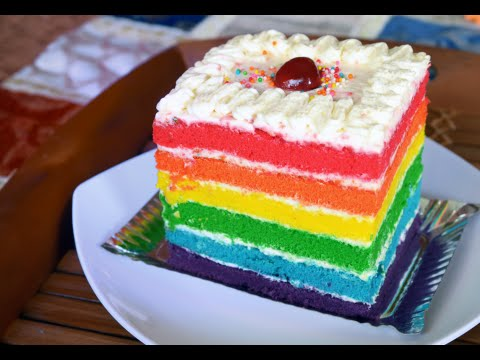 How To Make A Delicious Rainbow Cake Youtube