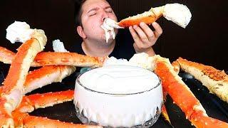 King Crab Legs With Alfredo Sauce • MUKBANG