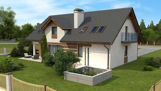 Проект мансардного дома Z172 GL2 с гаражом от Z500<