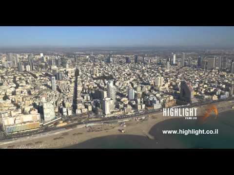 AT4K 008: Aerial 4K stock footage - Tel Aviv coastline and cityscape