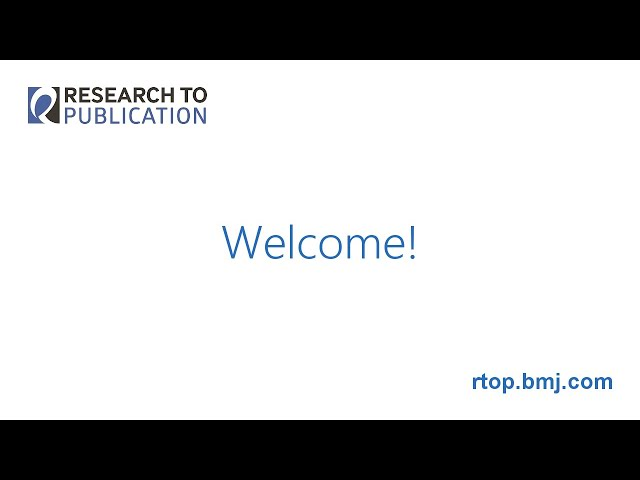 Welcome to Research to Publication v1