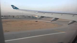 Oman Air WY114 Landeanflug Muscat Airport Oman