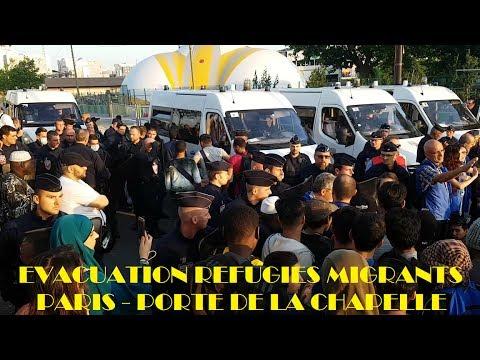 Évacuation des réfugiés migrants de Paris - Porte de La Chapelle - 7 juillet 2017