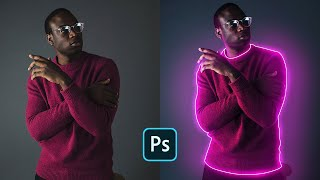 How to Create Glowing Lines on Portrait Image - Photoshop Easy Tutorial
