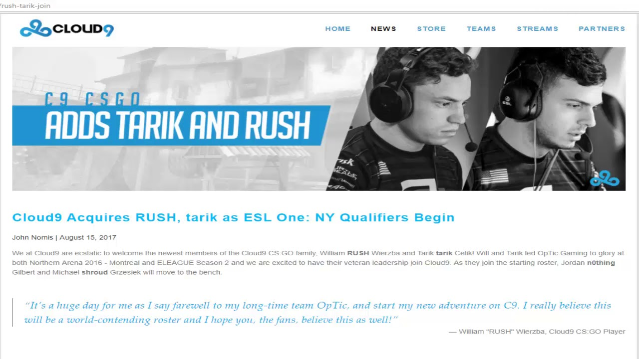 CSGO-C9 Shroud and n0thing are moved on the bench RUSH and Tarik are the  new holders!!!