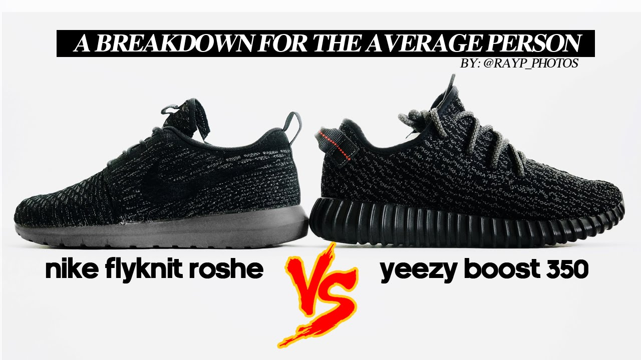 official photos 5e20c d9db9 adidas Yeezy Boost 350 vs. Nike Roshe Run Comparison Video ...