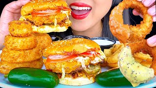 ONION RINGS, CHEESEBURGER, FRENCH FRIES + JALAPEÑO PEPPERS *MESSY EATING* (ASMR MUKBANG) ASMR Phan