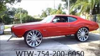"AceWhips.NET- WTW Customs Broward- Red Oldsmobile Cutlass on 28"" Bentchi Rims"