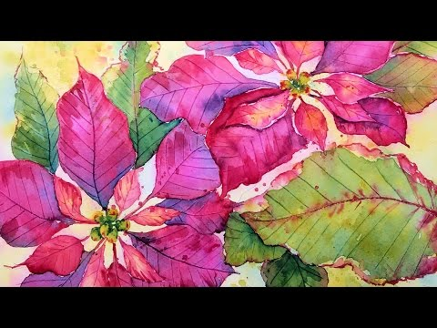 Poinsettia in Watercolor Real Time Painting Tutorial!