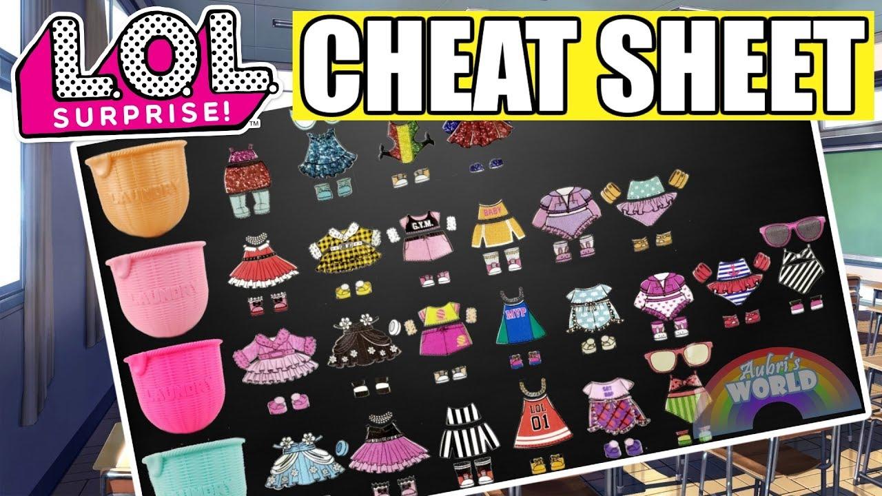 LOL Surprise Fashion Crush CHEAT SHEET | L O L  Eye Spy Clues All Outfits +  Basket Colors | LOL Gold