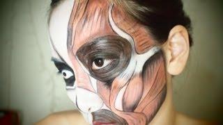 Halloween Makeup☆ Exposed Face Muscles Makeup Tutorial