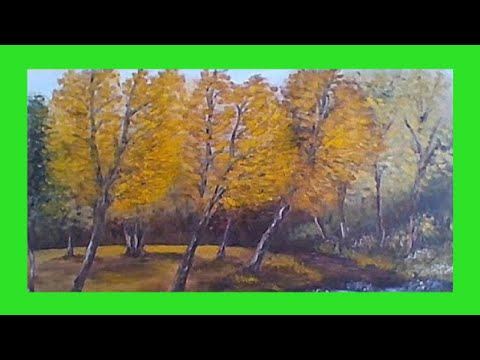 An Autumn scene painted in acrylics –  acrylic painting tutorial  2018