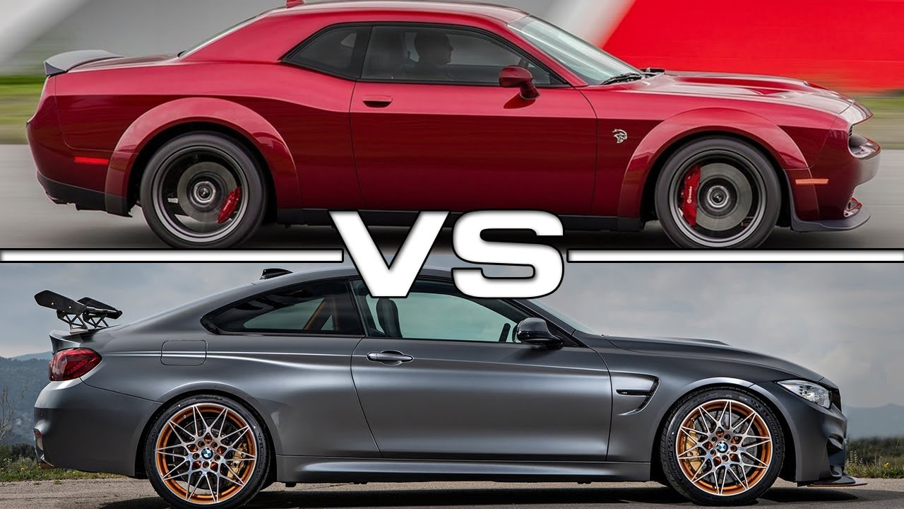 Challenger Vs Challenger Hellcat >> 2018 Dodge Challenger SRT Hellcat vs 2016 BMW M4 GTS - YouTube