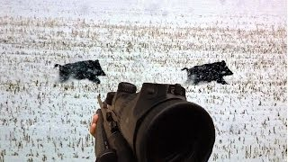 Battue de Sangliers sous la neige - Caméra Embarquée GoPro