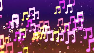 Two-hour relaxing screensaver with Background with nice flying musical notes
