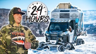The Ultimate Mountain Machine!! Polaris General with Tracks! (Surviving 24 hours in the mountains)