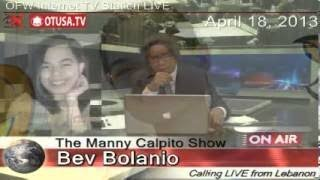 Live interview with Bev Bolanio, OFW from Lebanon @OTUSA.TV