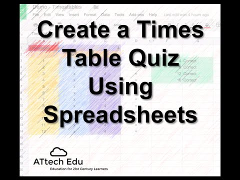 Times table Quiz using Spreadsheets Lesson 4 - Tutorial using Google Spreadsheets