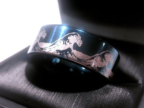 Ocean Wave Blue Tungsten Ring 2018