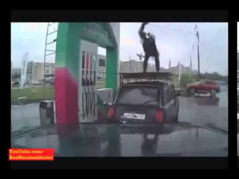 NEW Crazy Russian Petrol Station Assistant doing Crazy Kung Fu !!! Epic Watch Only in Russia 2013