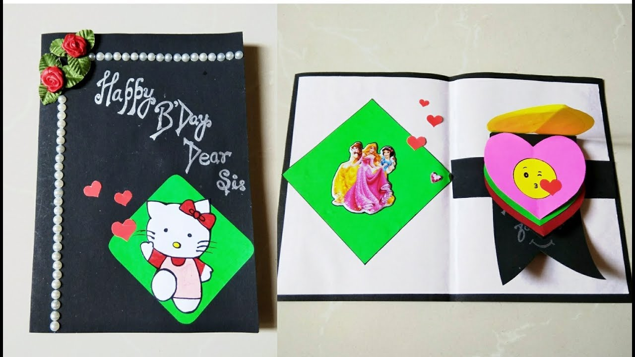 DIY Birthday Card Making Heart Waterfall Emoji Greeting Hello Kitty
