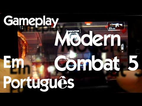 Jogando Modern Combat 5 - iPhone 5c - Português Brasil iOS, Android e Windows Phone Gameplay