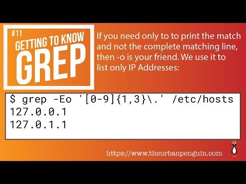 Getting to know grep and the -o option - YouTube