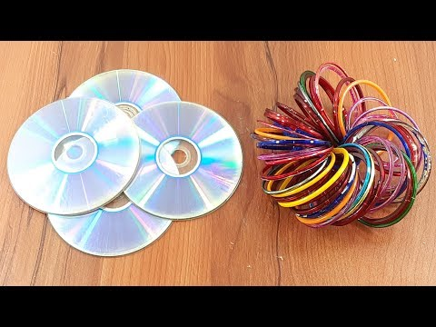 Waste CD Disc & old bangles reuse idea | DIY arts and crafts | Amazing creative crafts