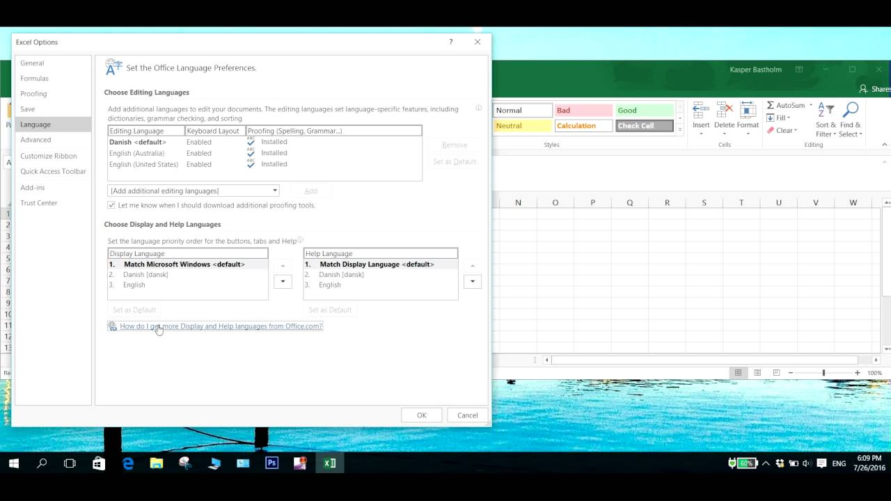 Change the language in office 365 - Change the language for Word, Excel and  Powerpoint