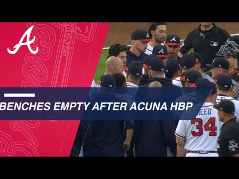 Benches clear after Ronald Acuna Jr. is hit by a pitch from Jose Urena