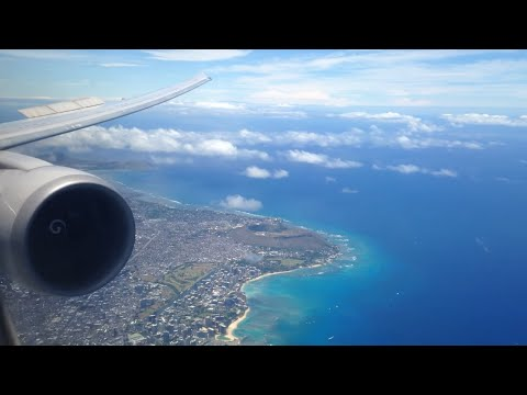 United Airlines - Boeing 767-400er landing in honolulu HNL airport in hawaii - excellent views