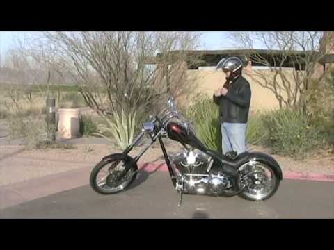 Riding a custom chopper (Harley Davidson motor) in Arizona