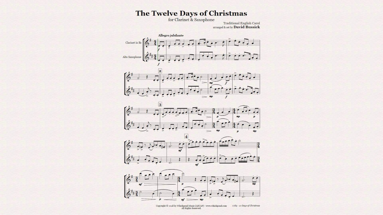 12 Days Of Christmas Sheet Music.12 Days Of Christmas Clarinet Sax Duet Sheet Music