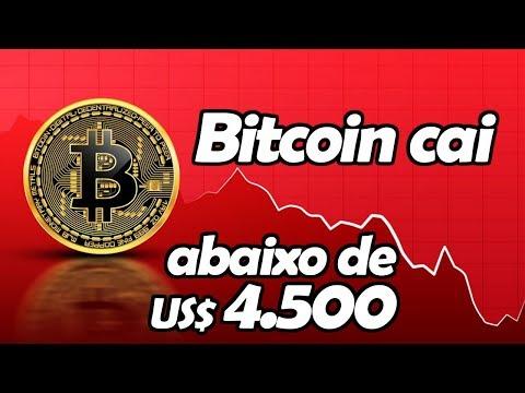 Bitcoin Cai Abaixo de 4.500 Dólares - Mercado de Criptomoedas Continua Caindo