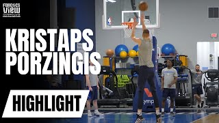 Kristaps Porzingis works on Pick + Roll Jumper & Mid-Range Jumper with Rick Carlisle